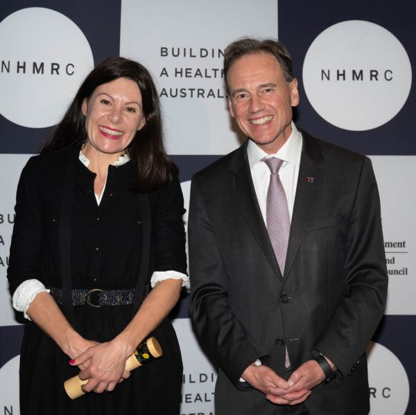 Professor Angela Morgan pictured with Health Minister Greg Hunt at the 2020 NHMRC Research Excellence Awards.