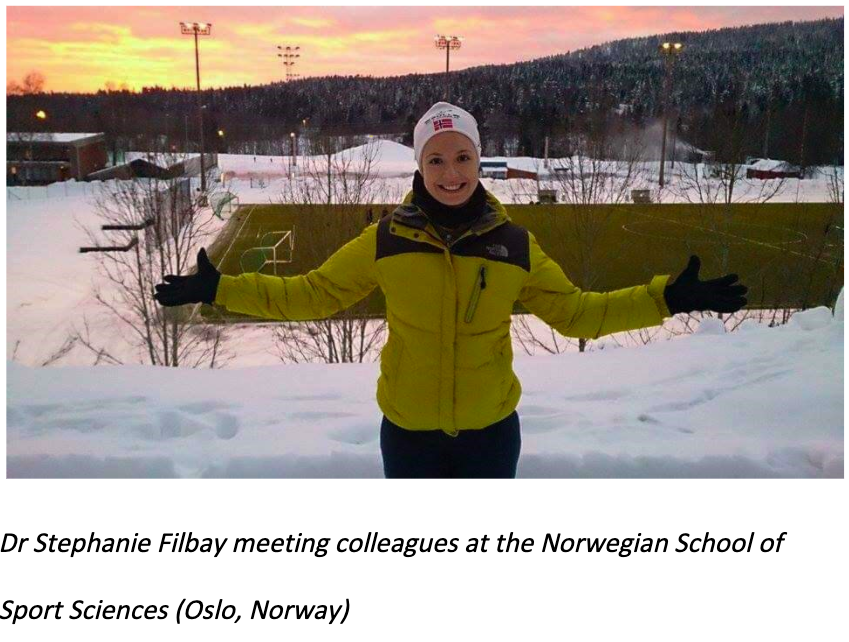 Photo of Dr Filbay meeting colleagues at the Norwegian School of Sport Sciences