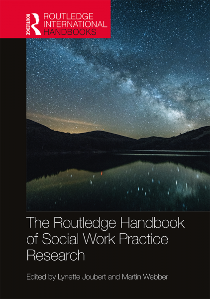 Front cover page depicting the night sky, titled of The Routledge Handbook of Social Work Practice Research by Lynette Joubert and Martin Webber