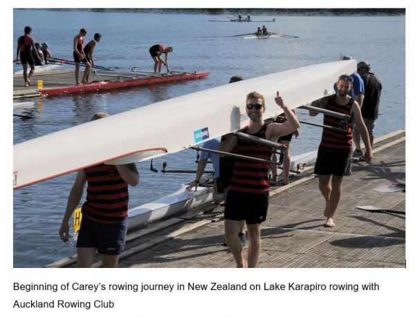 Photograph of Carey rowing in New Zealand