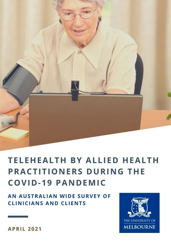 Woman accessing computer. Allied Health Telehealth Report cover picture.