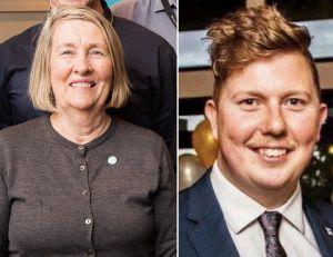 Headshot images of Helen Kelly and Aaron McGregor