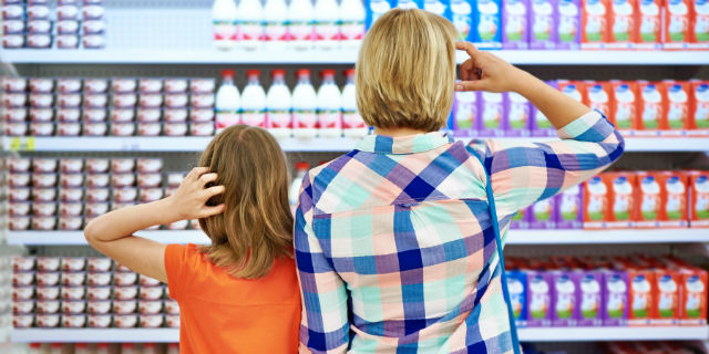 Mother and Daughter at supermarket
